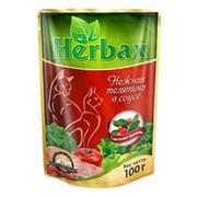 Herbax 100г пауч Влажный корм для взрослых кошек Нежная телятина в соусе с листьями брусники фото