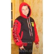 "Зимняя спортивная куртка ""Ferrari"" Чёрно-красная фото"