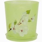 Горшок цв. для орхидеи 1,2 л с поддоном (зел.прозрач.) фото