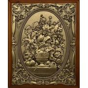 Деревянная ключница настенная Цветы в вазе малая фото
