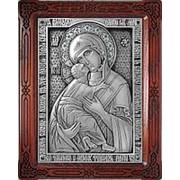Курская церковная мастерская Владимирская Богородица, серебряная икона Божьей Матери Высота иконы 19 см фото