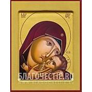 Храм Покрова Богородицы Корсунская, икона Богородицы на сусальном золоте (гладкий МДФ 6 мм без ковчега) Высота иконы 10 см фото