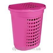 Корзина для белья овальная 60л Розовый фото