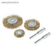 Набор щеток металлических TUNDRA, для дрели 5 пр, 25, 38, 50 мм плоские, 2 шт шпильки фото