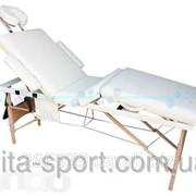Стол массажный деревянный 4-х сегментный Body Fit Бежевый фото