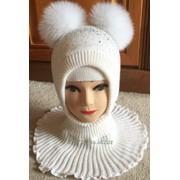 Зимняя тёплая нарядная шапка шлем с меховыми помпонами6 фото