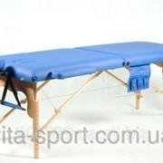 Стол массажный деревянный 2-х сегментный Body Fit Синий фото