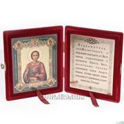Складень, икона св. вмч. Пантелеимона Целителя с молитвой фото