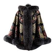 Пальто из павловопосадских платков с капюшоном фото