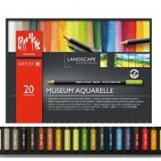 Набор карандашей цветных Carandache Museum Aquarelle, 3.8 мм, 20 цветов, картонная коробка 20 цветов фото