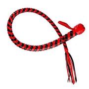 Плеть Змея из полосок кожи красного и черного цветов - 60 см. фото