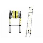 Лестница телескопическая, алюминиевая, h-3,5м, 12 ступеней, шаг 30см, (в сложенном h-82см) фото