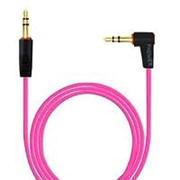 Аудио кабель штекер-штекер 3.5 мм, с угловым штекером, розовый - 1 метр фото