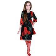 Эффектное легкое платье черного цвета с розами 116 фото