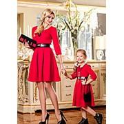 Яркое стильное детское платье с рукавами три четверти, пояс из экокожи фото