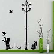 Виниловая наклейка на стену Коты и фонарь фото