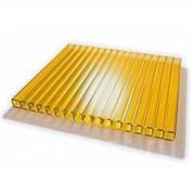 Сотовый поликарбонат 4 мм желтый Novattro 2,1x12 м (25,2 кв,м), лист фото