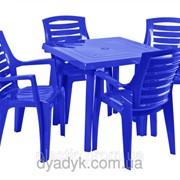 Комплект стол квадратный. 4 стула Рекс фото