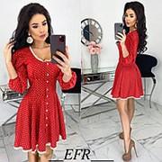 Платье женское в горошек (5 цветов) ЕФ/-506 - Красный фото