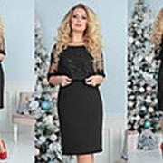 Комбинированное платье женское (5 цветов) -Черный ТК/-2153 фото