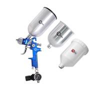 HVLP BLUE PROF KIT Краскораспылитель 1,7 мм, с регулятором давления, тремя бачками (2-метал 800 / 600) INTERTOOL PT-1506 фото