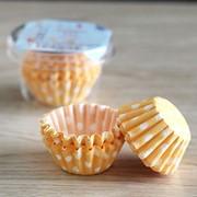"""Набор бумажных форм для конфет """"Желтые, белый горох"""" d=35 h=15 фото"""