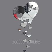 Зеркальные часы Сердечки фото