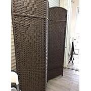 Ширма плетеная раздвижная (темно-коричневый) фото