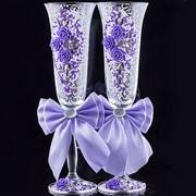 Свадебные бокалы сиреневые (2 шт.) фото