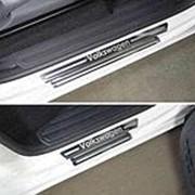 Накладки на пороги VW Amarok 2016-наст. время (лист зеркальный Volkswagen) фото