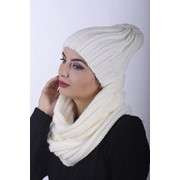 Комплект женский шапка 0028H и Хомут 0029 H молочный фото