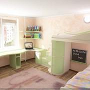 Детская комната с угловым столом фото