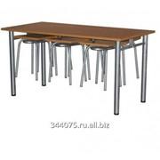 Стол обеденный с подвесными табуретами фото