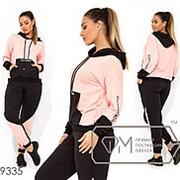 Спортивный костюм женский двухцветный из двунитки (3 цвета) - Розовый VV/-0118 фото