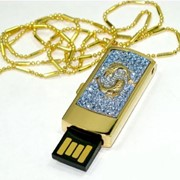USB Флешка Позолоченная Zodiak инкруст.кристаллами,Uniq РЫБЫ/синяя/Водонепр фото