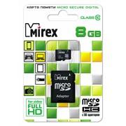 Карта памяти microSDHC с адаптером MIREX 8GB class 10 фото