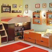 Детская комната Легенда 13 с полками венге светлый/венге темный/оранж фото