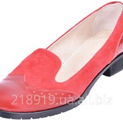 Туфли - лоферы на каблуке красные №13 скл фото