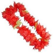 Венок на шею гавайский красный фото