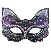 Карнавальная маска Кошка фиолетовая фото