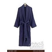 Халат Karna FERAT хлопковая махра синий 3XL фото