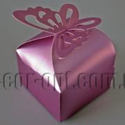 Бонбоньерка перламутровая с бабочкой розовая 6х6х8см 570791 фото