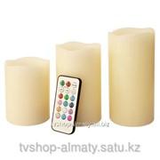 Электронные свечи набор 3 шт. С пультом управления фото