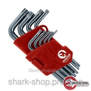 Набор Г-образных ключей TORX с отверстием 9шт., Т10-Т50, Cr-V, Small HT-1831 фото
