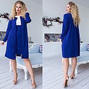 Деловое двухцветное платье женское с накидкой (8 цветов)-Электрик ТК/-1161 фото