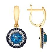 Серьги из золота с синими топазами и бесцветными и чёрными фианитами (725279) фото