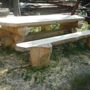 Стол садовый деревянный, изготовление столов со сруба фото