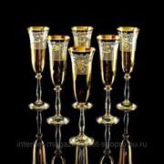 Бокал для шампанского, набор 6 шт, хрусталь/декор золото 24К VITTORIA фото