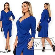 Платье женское из креп дайвинга (3 цвета) - Синий SD/-626 фото