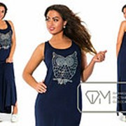 Сарафан женский синий в пол Сова VV/-026 фото
